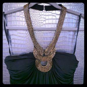 BEBE Gold Beaded Black Halter Mini Dress Perfect L